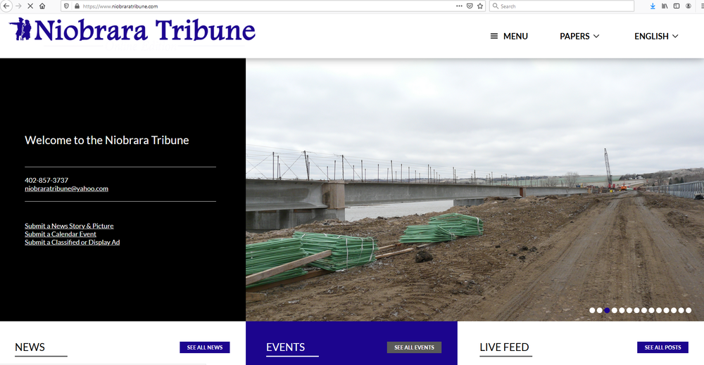 New Niobrara Tribune Website is launched