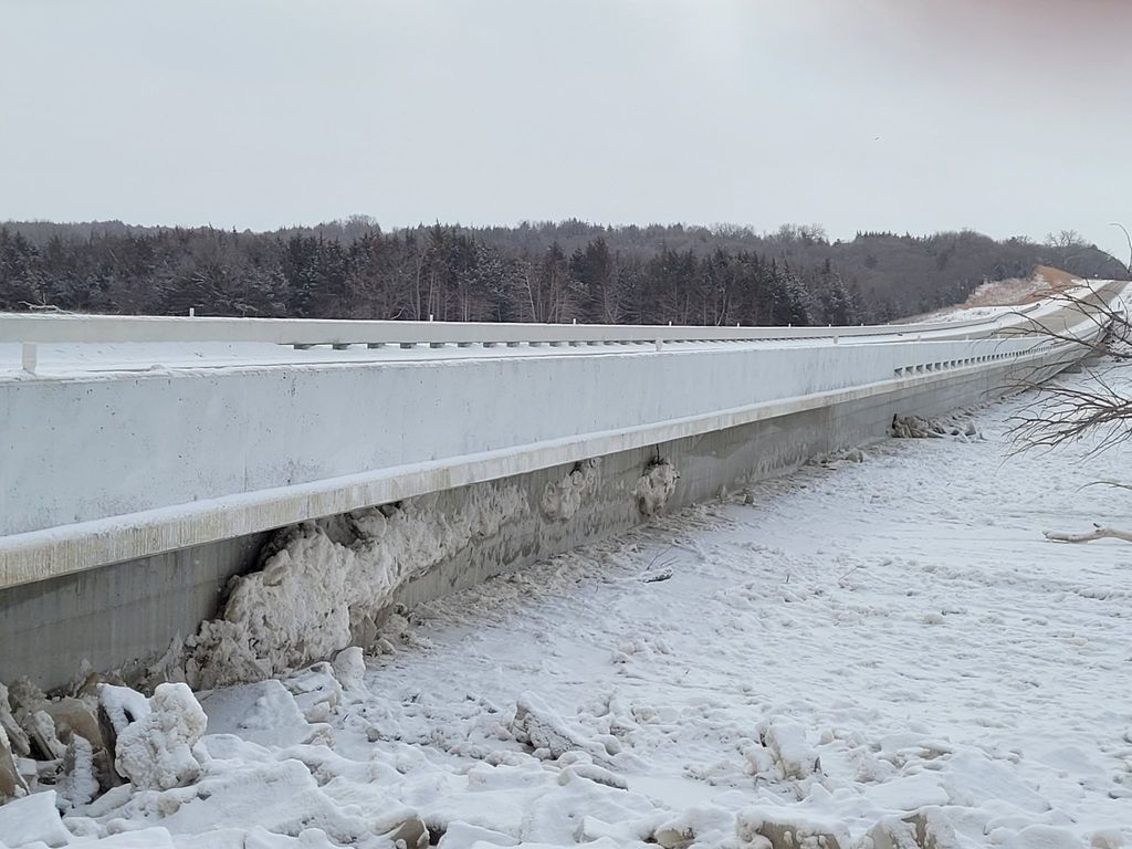 Ice under the new Spencer Dam Bridge