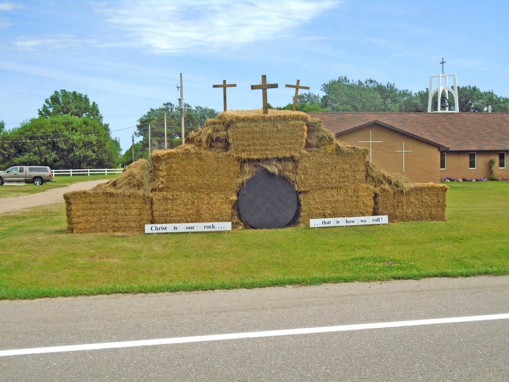 The Atkinson Hay Days Committee sponsors a Hay Sculpture contest and this year as of Monday there were two in the competition. This sculpture is located at Immanuel Lutheran Church on North Highway 11. Photo by Lorraine Lieswald