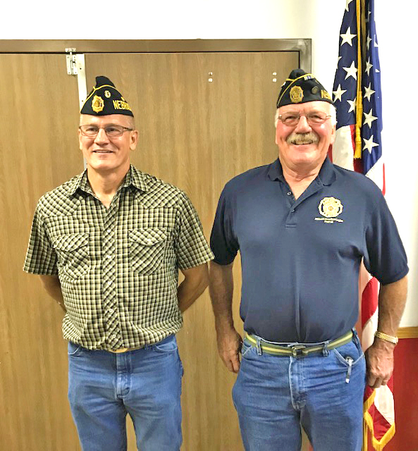 Atkinson Farley Tushla American Legion Post 86 swore in their Vice Commander Gerry Bouska and Commander Jake Dvorak on Thursday June 11 at their originally scheduled monthly meeting.  	Photo courtesy Ken Stenka
